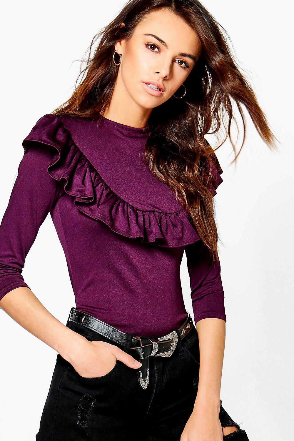 Maya Ruffle Detail 3/4 Sleev Top