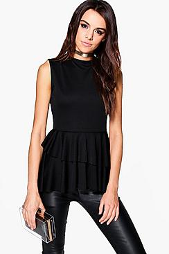 Nia Sleeveless Top With Layered Frill Detail