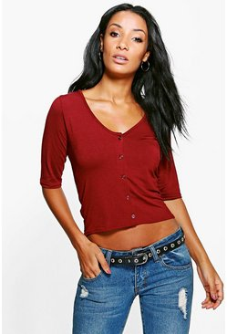 Niamh 3/4 Sleeve Top With V Neck Detail