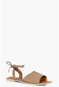 Katie Suede Peeptoe Wrap Ankle Strap Sandal