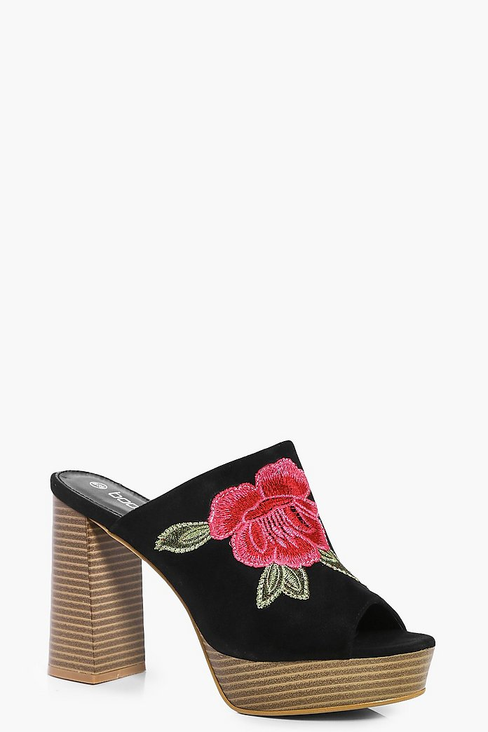 Melissa Floral Embroidered Mule