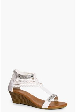 Lucy Embellished And Plait Demi Wedge