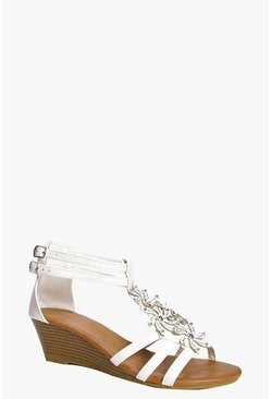 Lauren Floral Embellished Demi Wedge