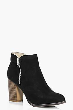 Faye Wood Effect Block Heel Ankle Boot