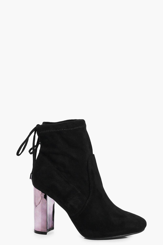 Emma Mirror Metallic Block Heel Sock Boot