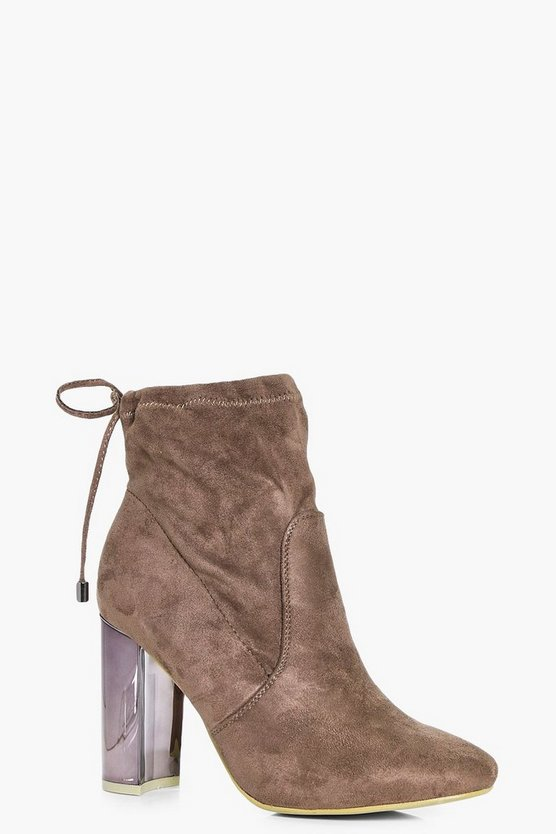 Emma Mirror Metallic Block Heel Sock Boot