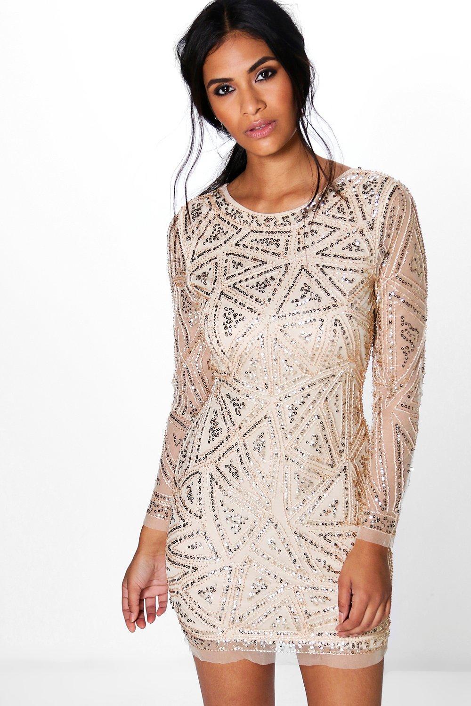 Lauren Sequin Long Sleeved Bodycon Dress | Boohoo