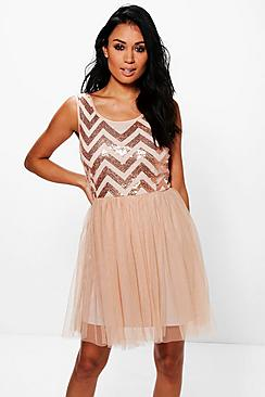 Tamara Sequin Top Mesh Skirt Skater Dress