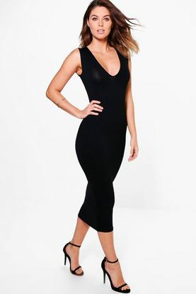 Arianne Plunge Neck Bodycon Midi Dress