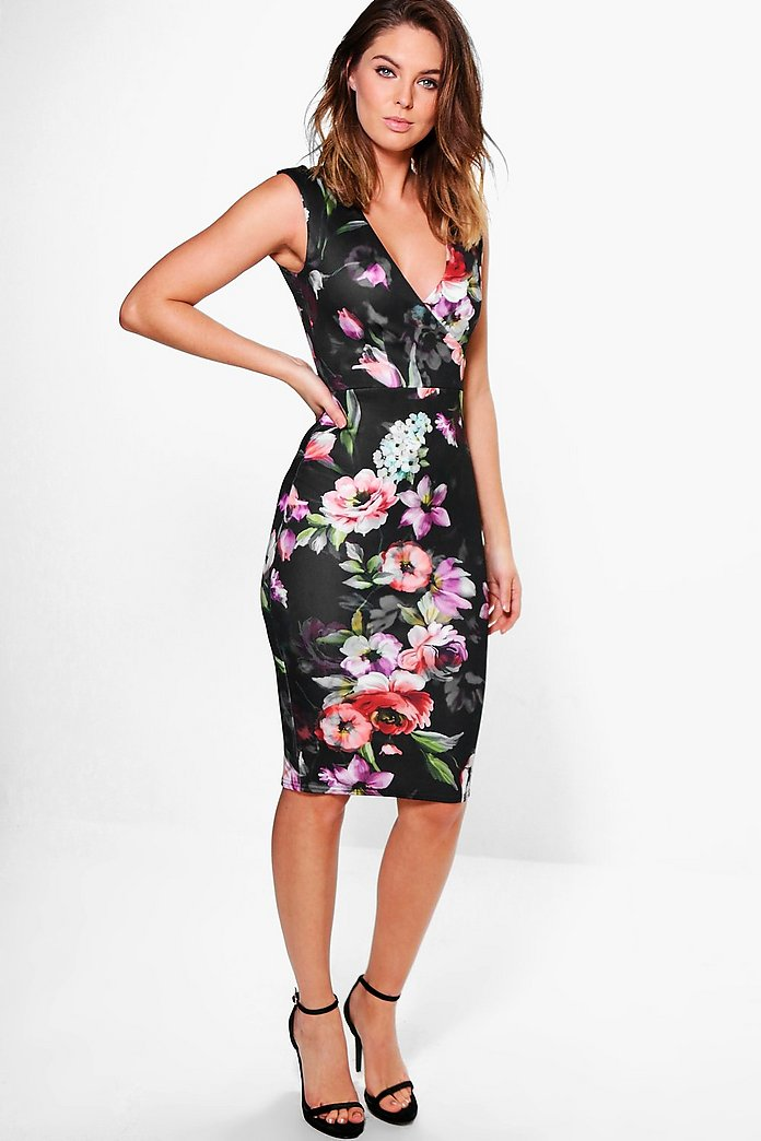 Ela V Neck Floral Printed Midi Dress