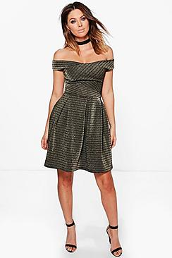 Ray Cross Grain Metallic Stripe Skater Dress