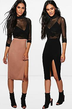 Zaharah 2 Pack Side Split Jersey Midi Skirt