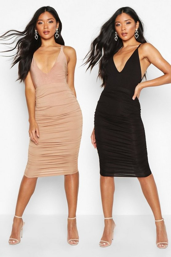 2 Pack Rouched Side Jersey Midi Skirt