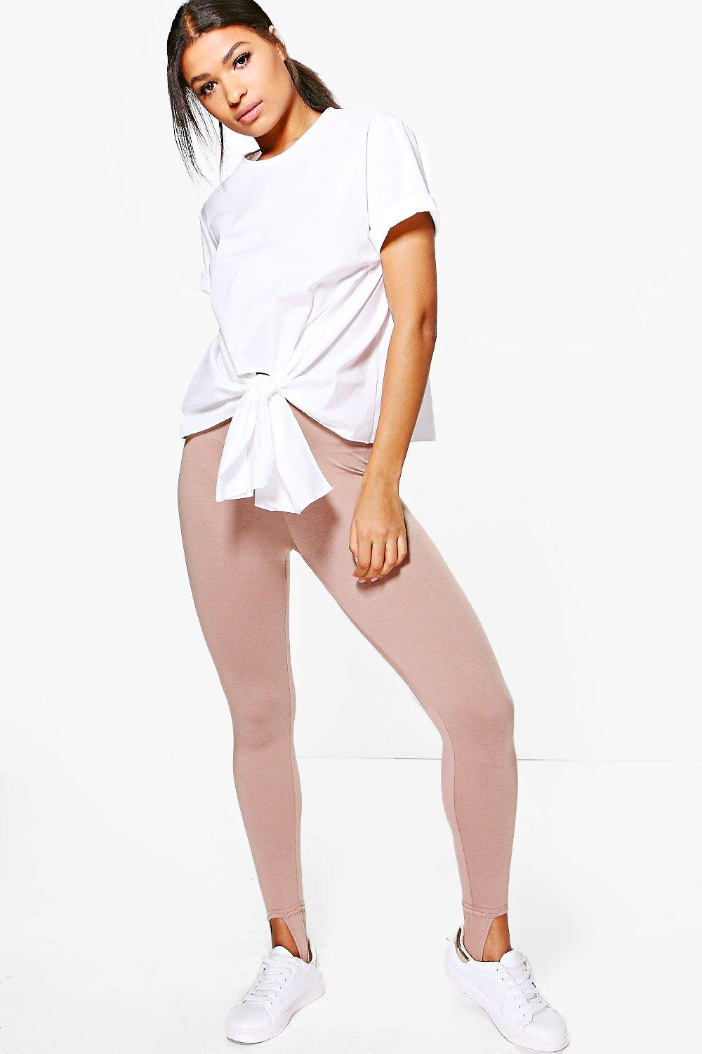 Mya Basic Jersey Stirrup Leggings sand