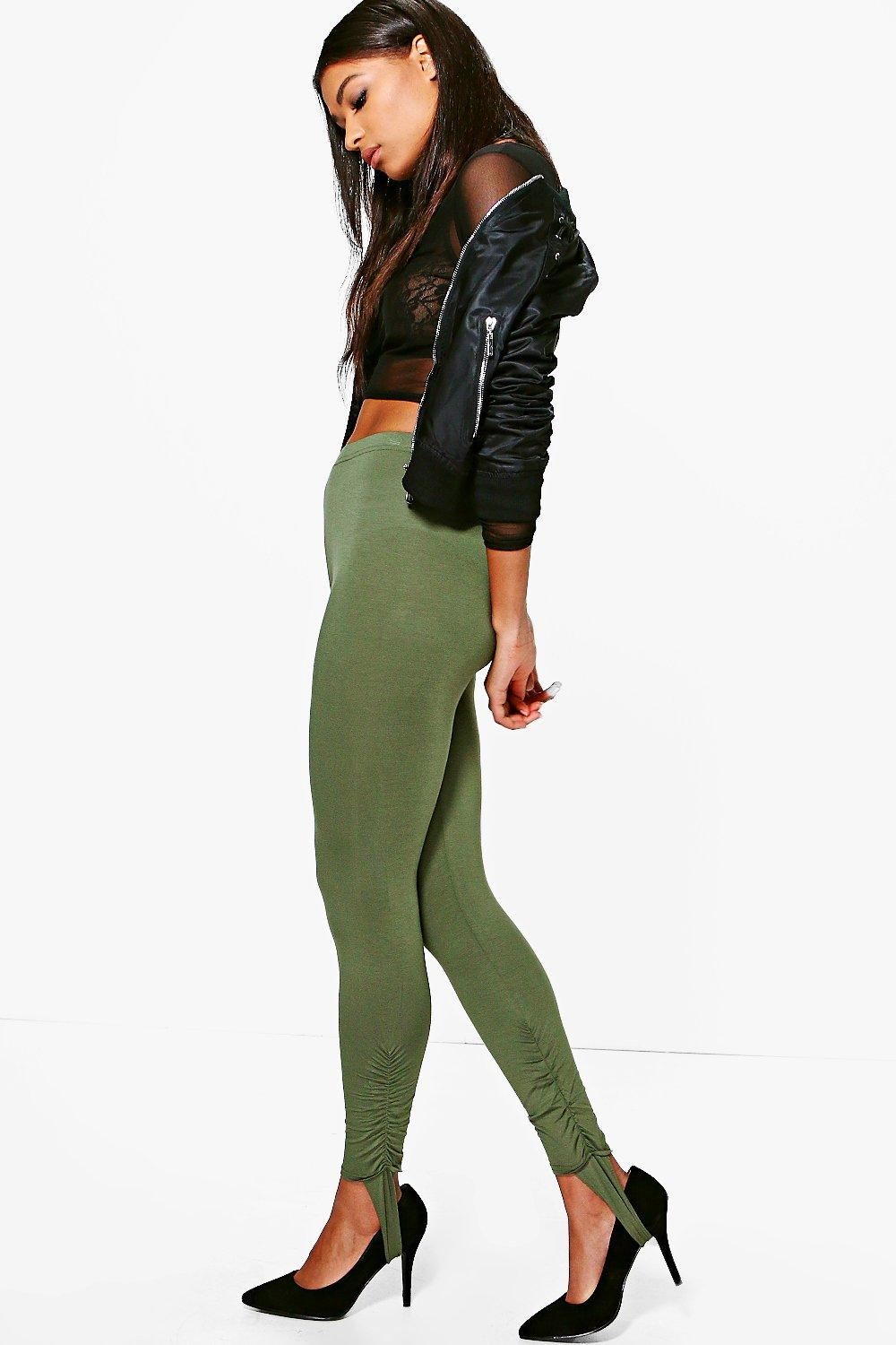 Loren Rouched Ankle Stirrup Jersey Leggings