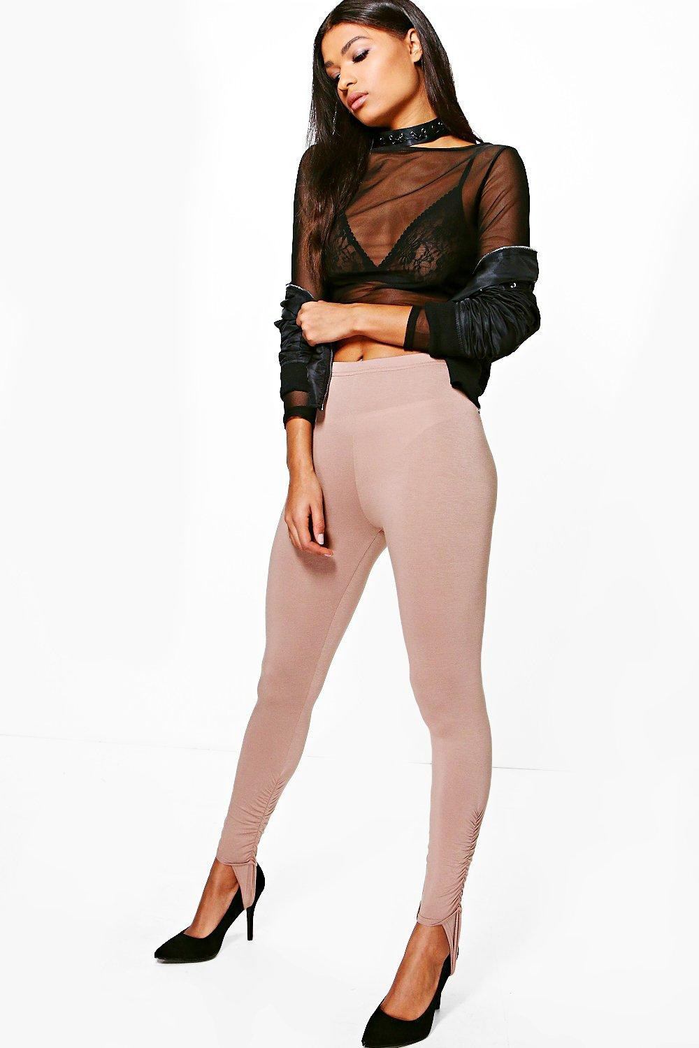 Loren Rouched Ankle Stirrup Jersey Leggings sand