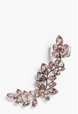 Leah Diamante Floral Leaf Ear Cuff