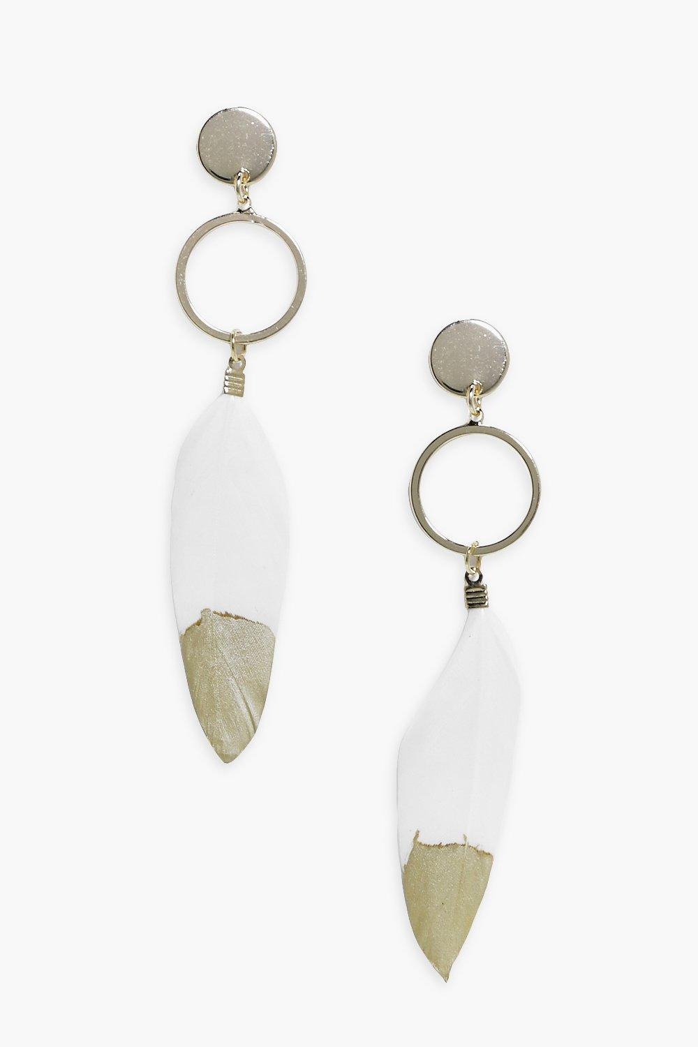 Gold Tip Feather & Hoop Earrings  gold
