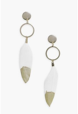 Georgia Gold Tip Feather & Hoop Earrings