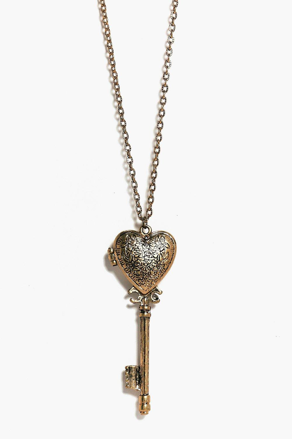 Heart Key Antique Necklace  gold