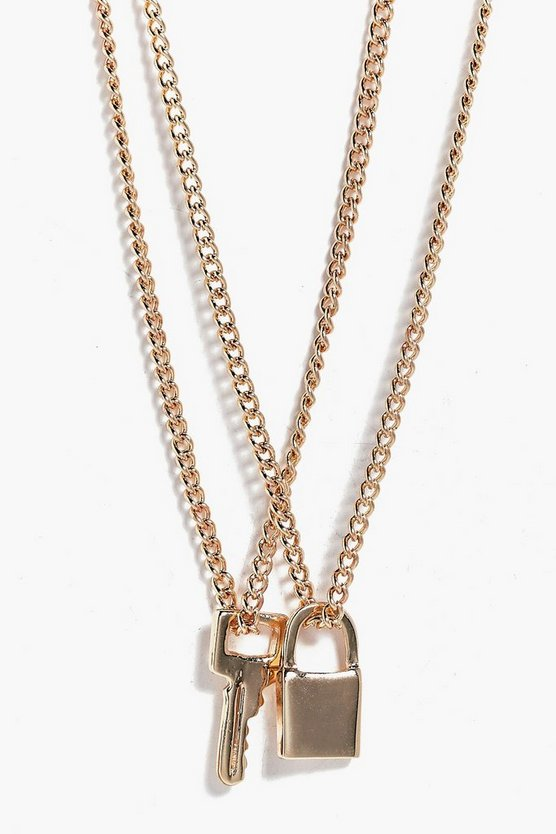 Lily Padlock & Key Layered Necklace