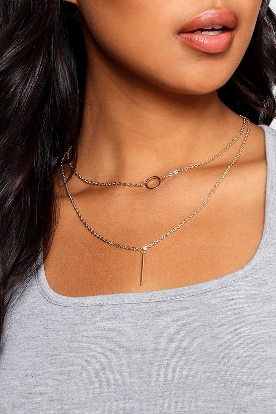 Olivia Circle & Bar Skinny Layered Necklace