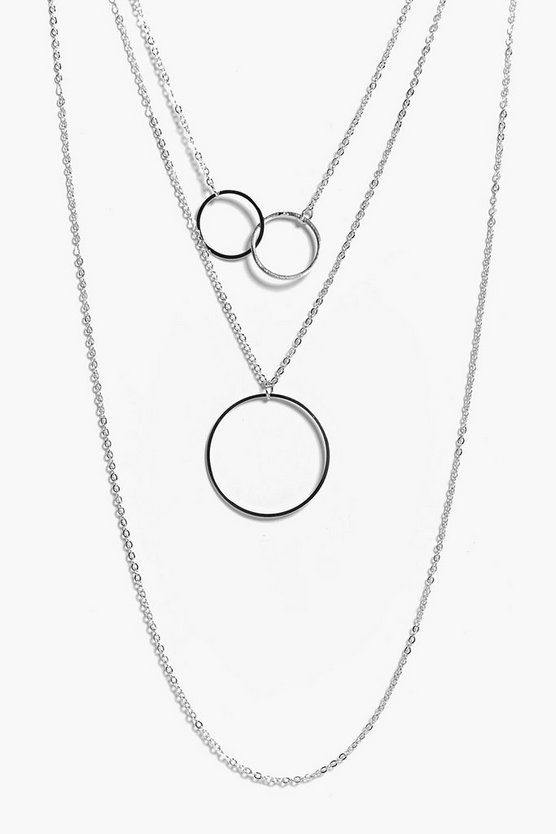 Ruby Interlock Circle Layered Necklace