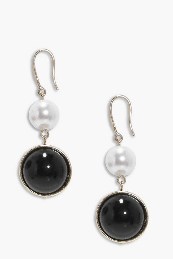 Elizabeth Pearl & Onyx Drop Earrings