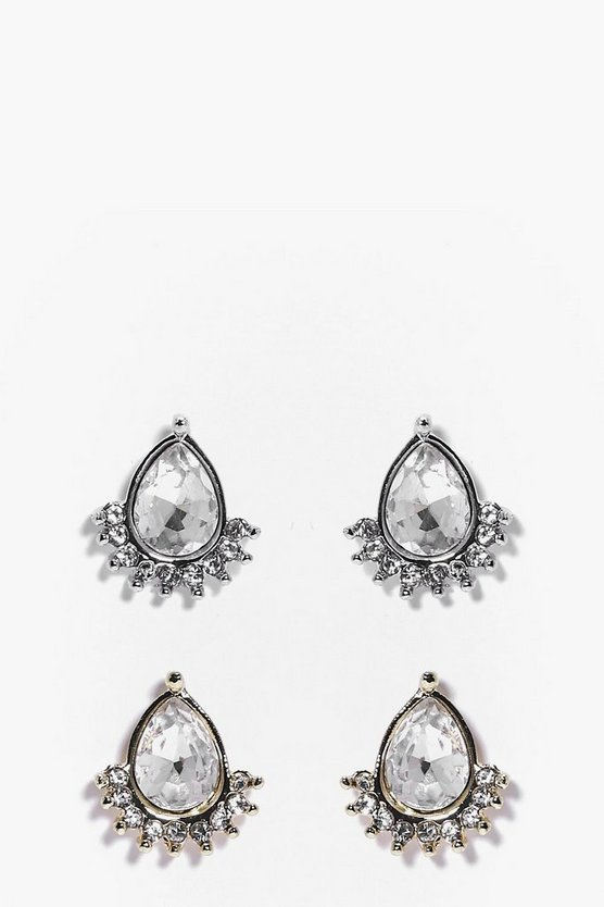 Brooke Embellished Diamante 2 Pack Stud Earrings