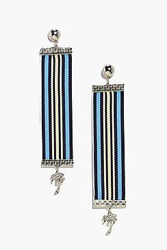 Amy Boutique Stripe Tape Palm Tree Earrings