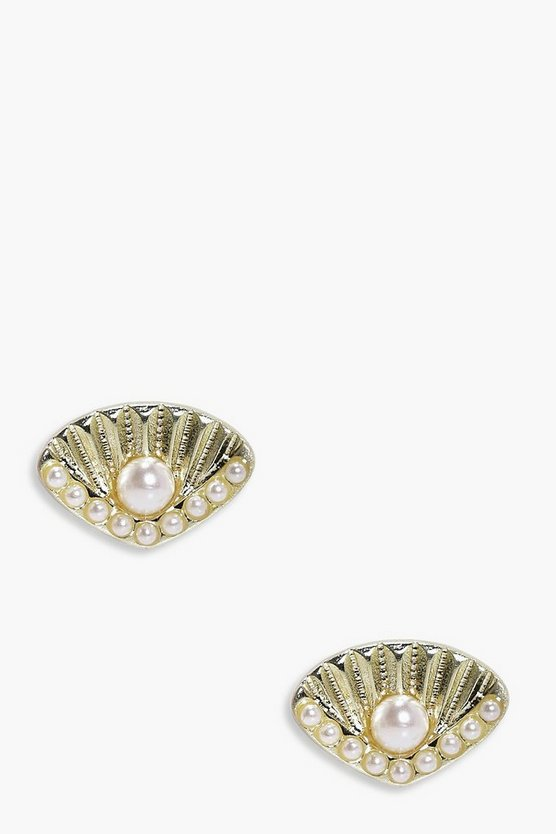 Gracie Pearl Shell Mermaid Stud Earrings