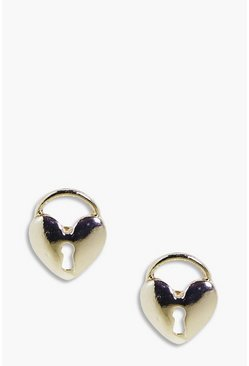 Amelie Heart Padlock Stud Earrings