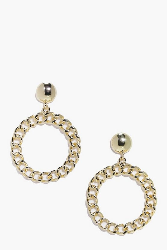 Rosie 1980's Curb Chain Hoop Earrings