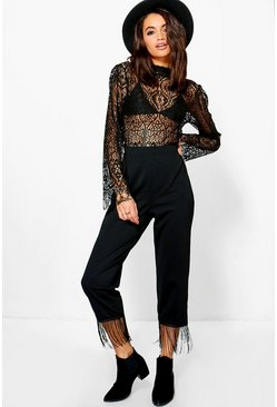 Aura Tassle Trim Slim Fit Woven Trousers