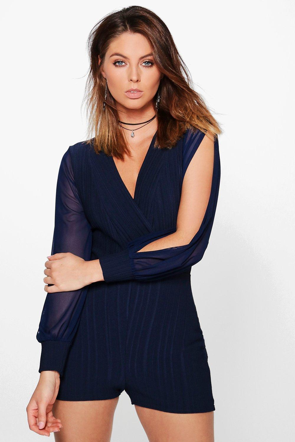 Laura Pleated Split Sleeve Wrap Front Playsuit