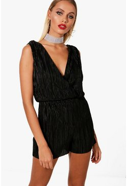 Helen Pleated Shoulder Playsuit