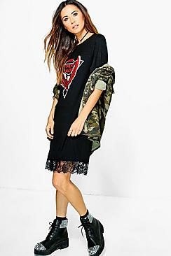 Abbie Oversized Band T-Shirt Dress