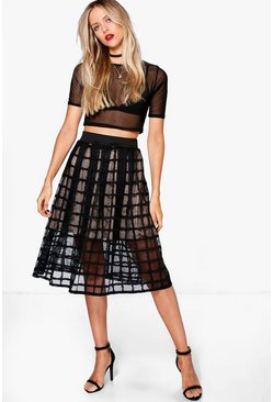 Meena Grid Mesh Full Midi Skirt