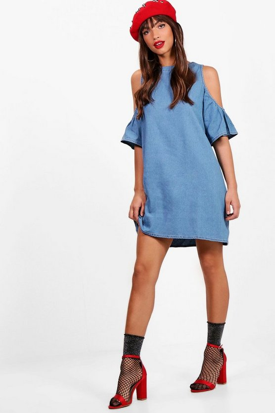 Zip Back Cold Shoulder Denim Dress