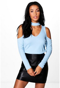 Olivia Cold Shoulder Choker Rib Knit Jumper