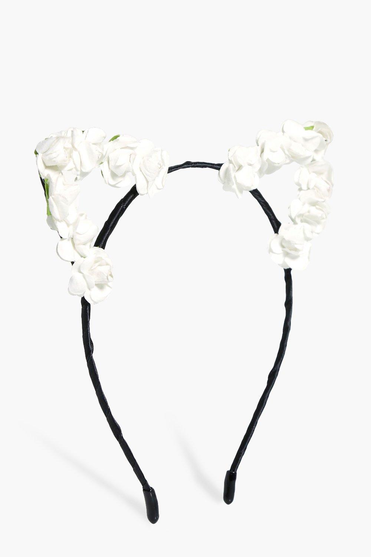 Oversized Floral Cat Ear Headband - white - Eloise