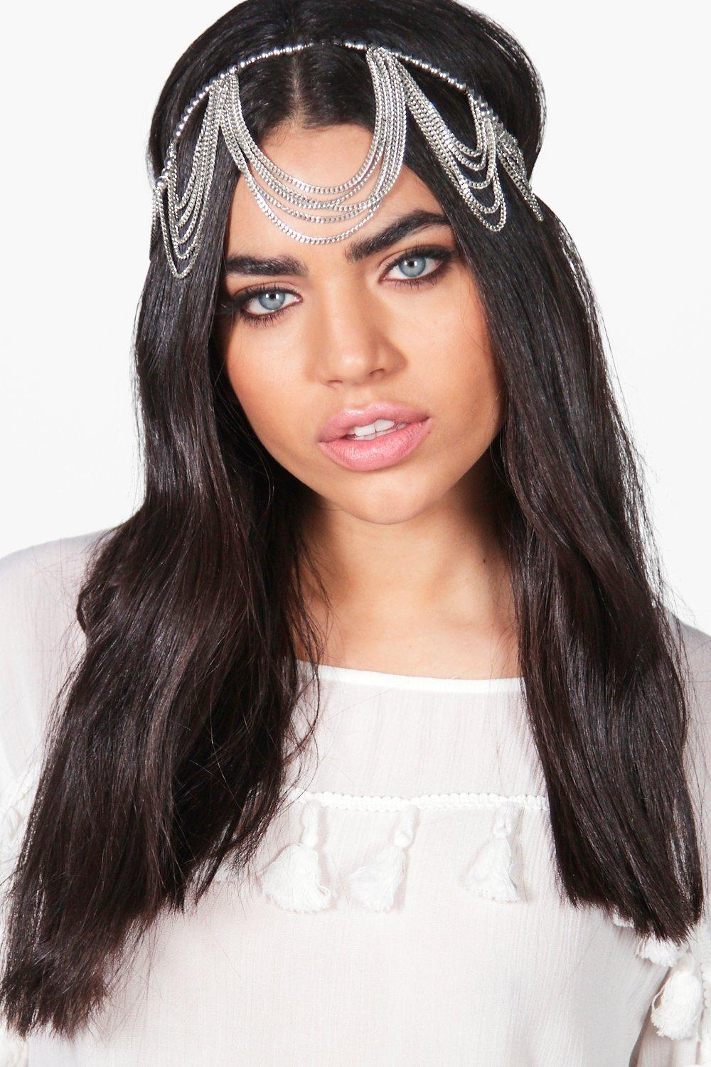 Bead & Chain Embellished Head Chain - silver - Mel