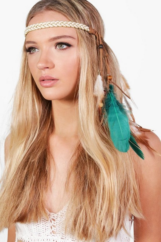 Elsa Feather Detail Plaited Festival Headband