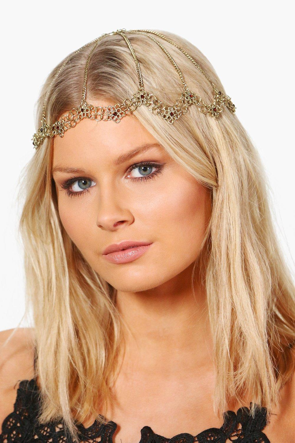 Ornate Floral Bridal Hair Chain - gold - Rachel Or