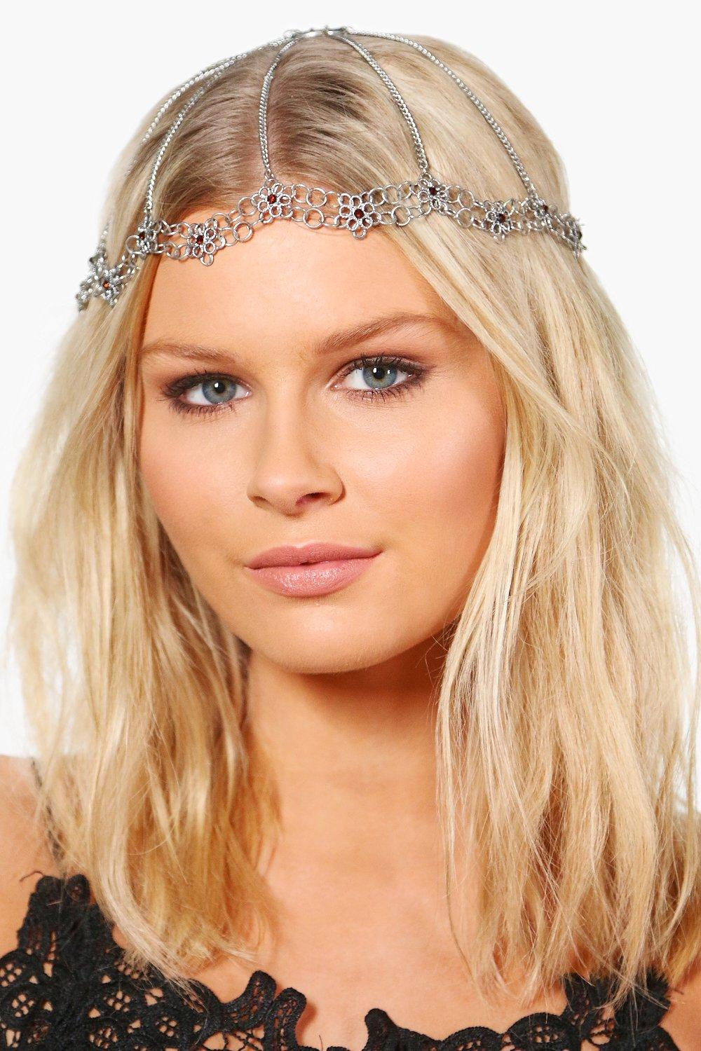 Ornate Floral Bridal Hair Chain - silver - Rachel