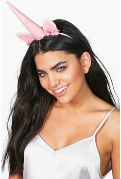 Elise Blush Glitter & Floral Unicorn Headband