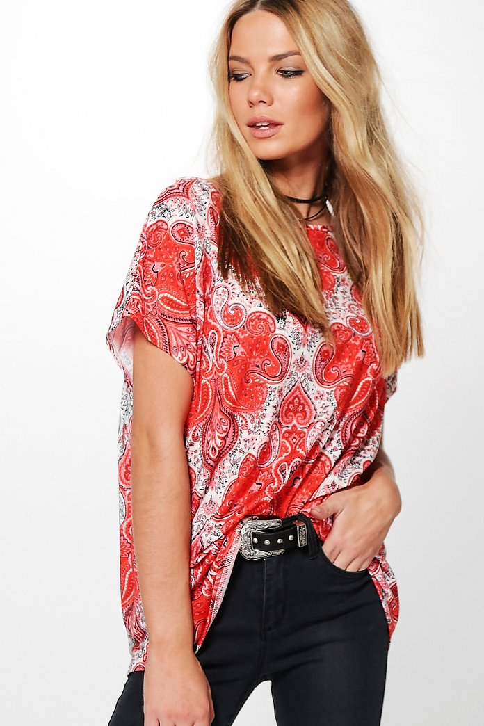 Izzy Paisley Slash Neck T-Shirt