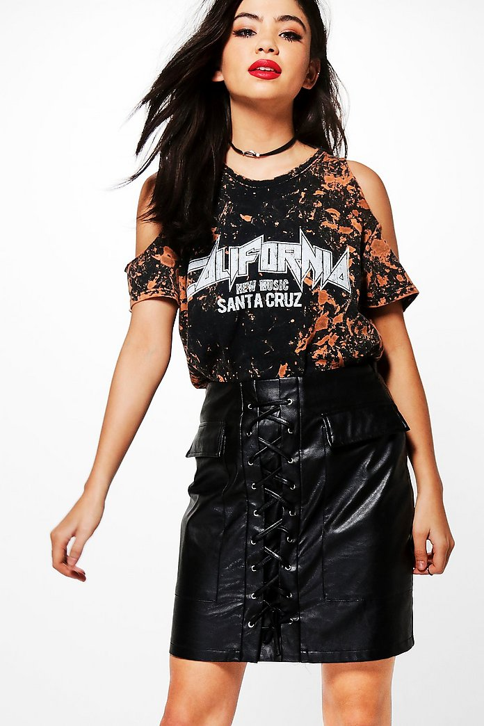 Brianny Bleached Cold Shoulder Band Tee