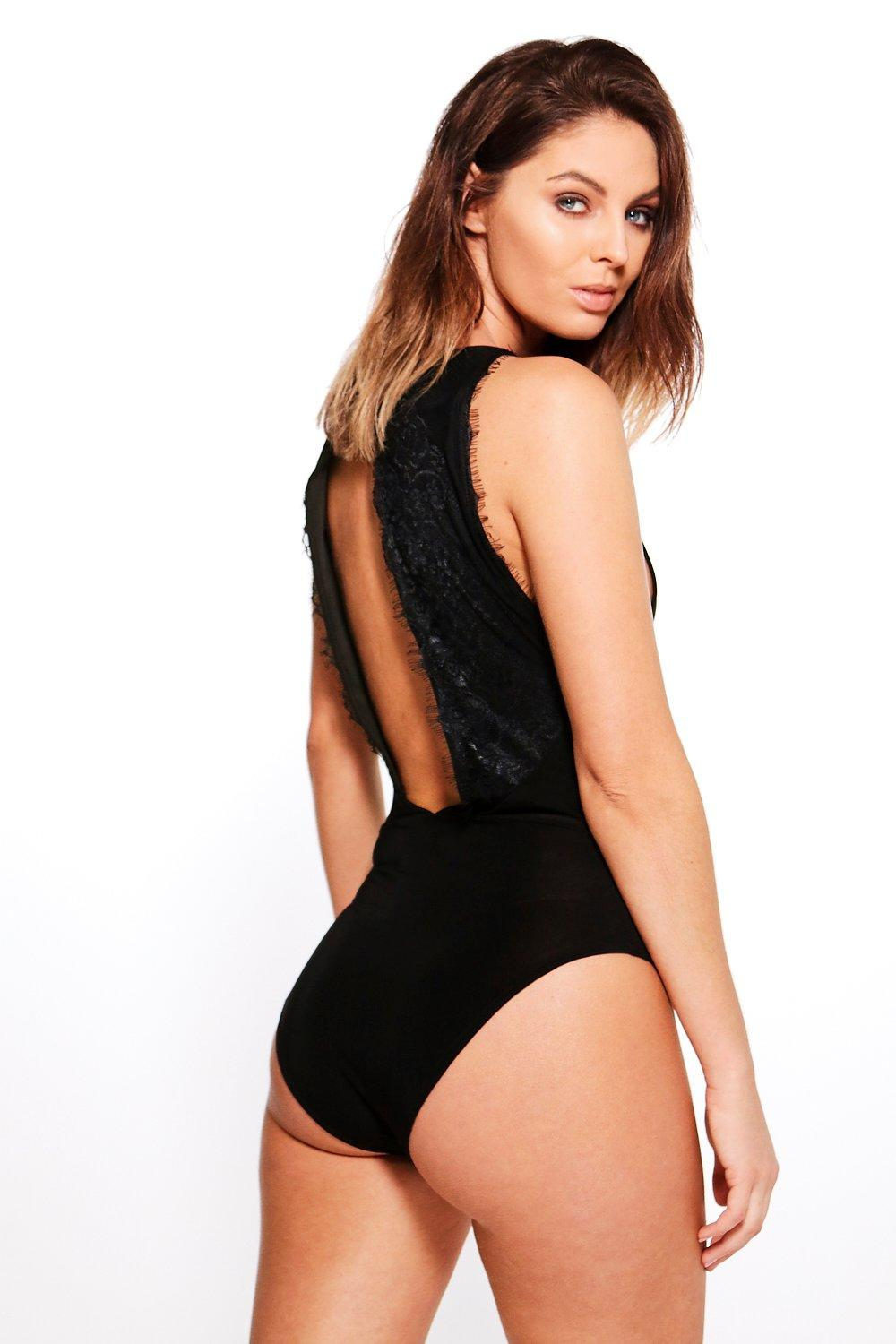 Eva Eyelash Lace Open Back Bodysuit