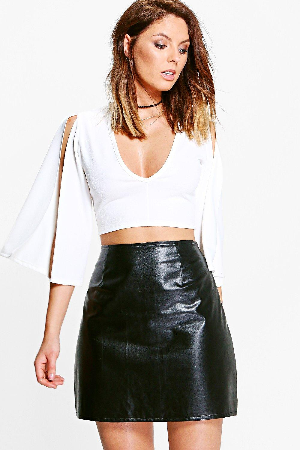 Bella Split Sleeve V Neck Crop